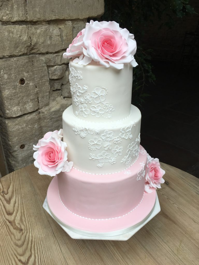 Pink and White, Hand Piped Lace detail, Sugar Roses
