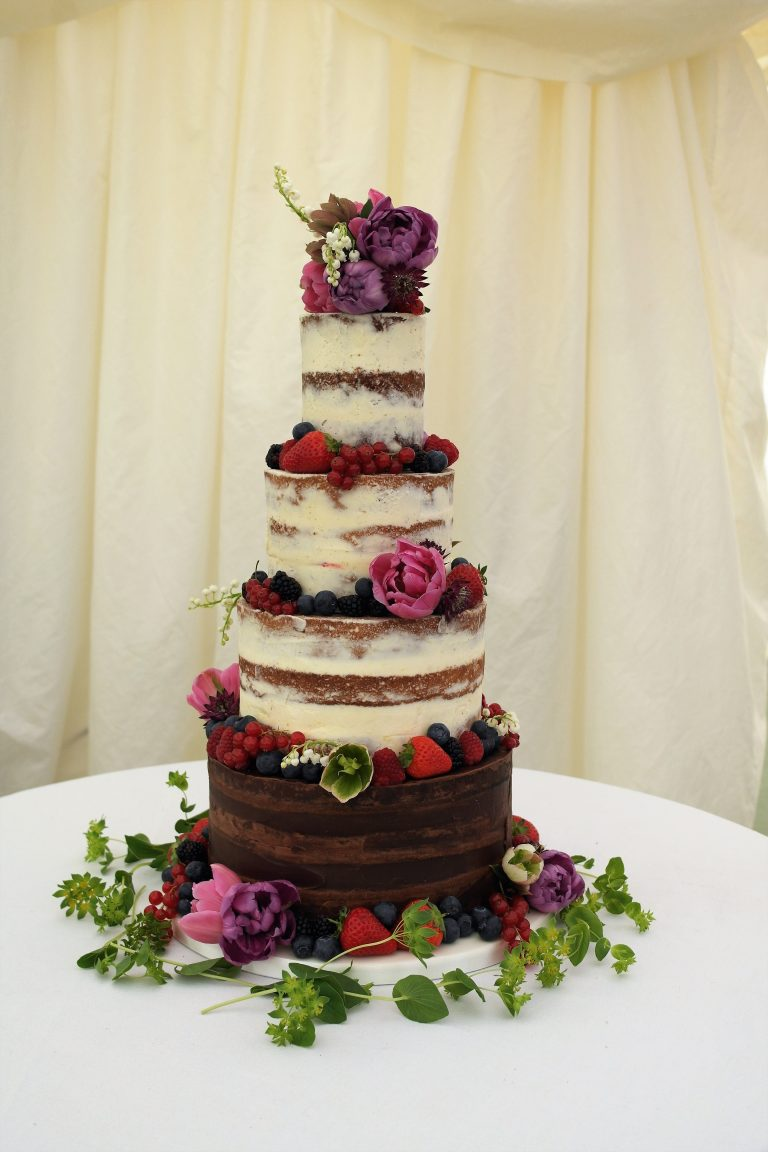 Semi Naked, Chocolate tier, Fresh Berries and Flowers
