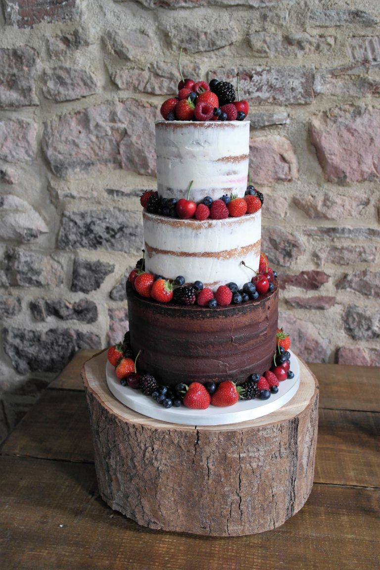 Semi Naked, Chocolate tier, Fresh Berries