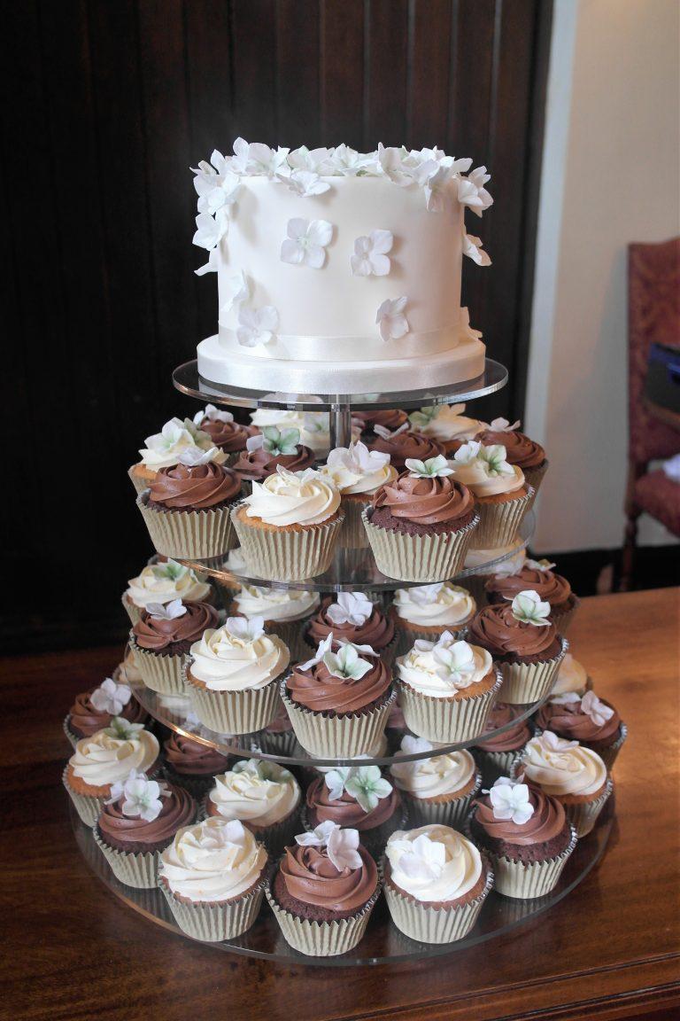 Hydrangea Petal Cupcake Tower