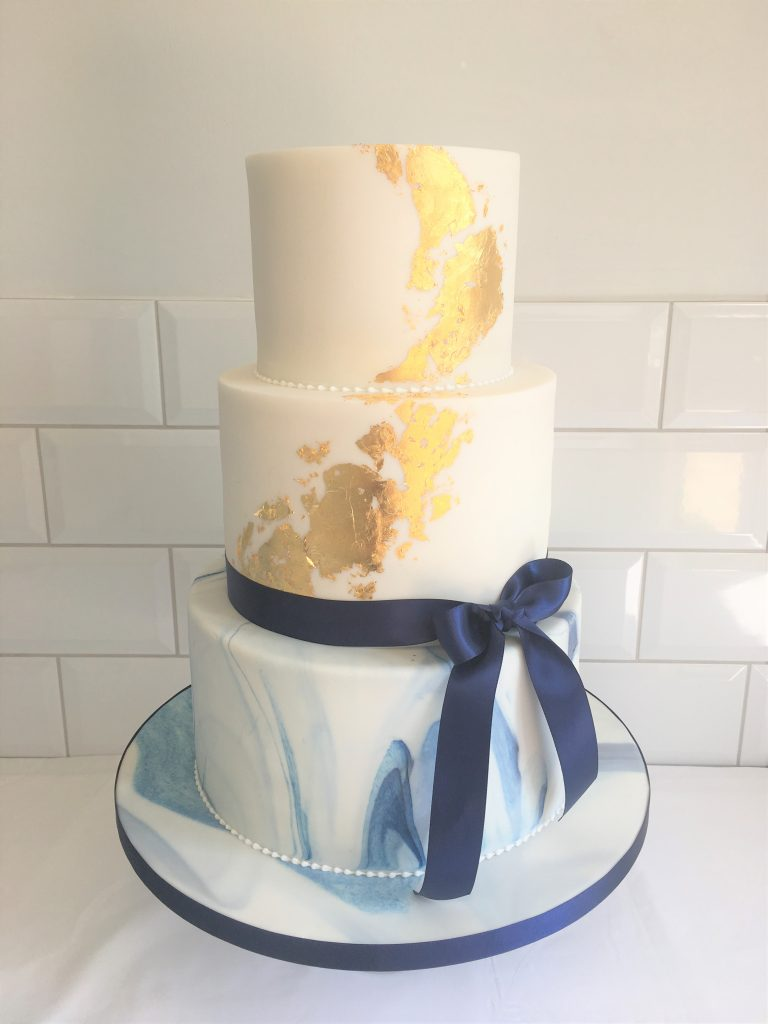 Navy Marble and Gold Leaf