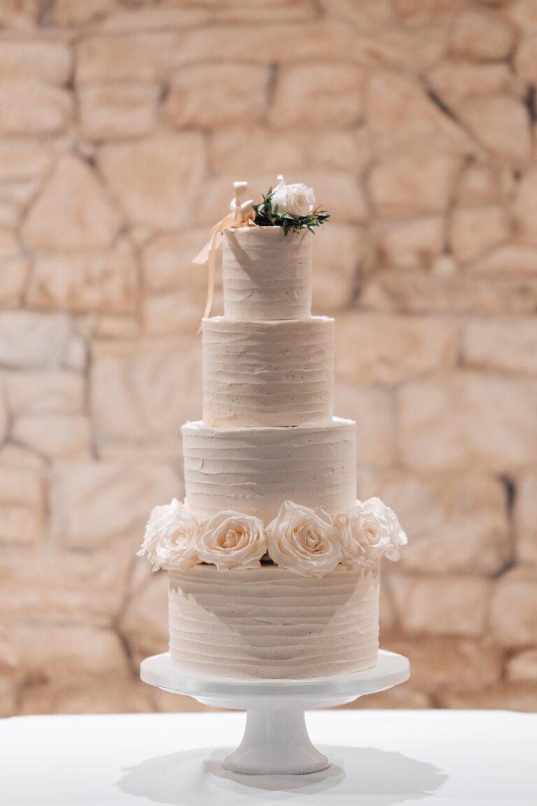 Elegant Buttercream and White Roses